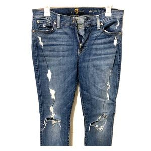 7 For All Mankind destroyed skinny jeans